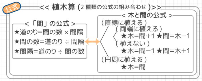 植木算で使う公式は「間の公式」と「木と間の公式」の組み合わせ